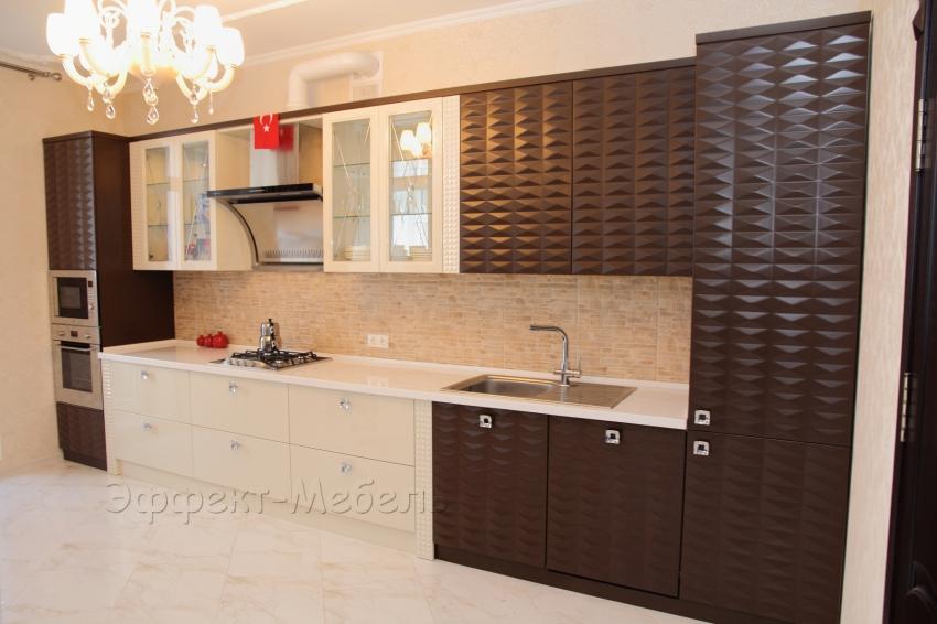 Кухня с 3D фасадами из МДФ крашеного