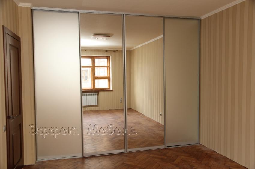 Шкаф купе встроенный двери зеркало сатин