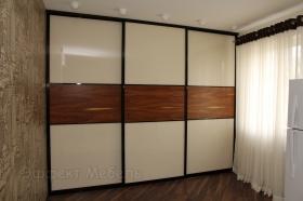 Шкаф-купе встроенный двери стекло+шпон.